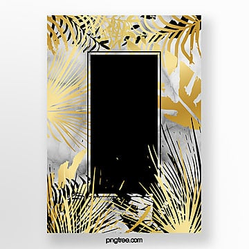 black gold marble template palm leaf Template