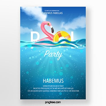 Sea Sky Swimming Pool Party Poster, Sea, Sky, Hand Painted PNG and PSD