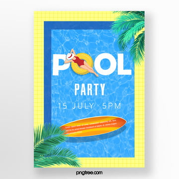 Summer Blue Pool Party Poster, Surf Board, Summer, Woman PNG and PSD