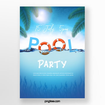 summer lifebuoy pool party poster Template