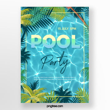 Summer Palm Pool Party Poster, Summer, Square Box, Palm PNG and PSD
