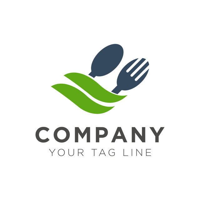 Fork And Spoon Restaurant Logo Design With Green Leaf ...