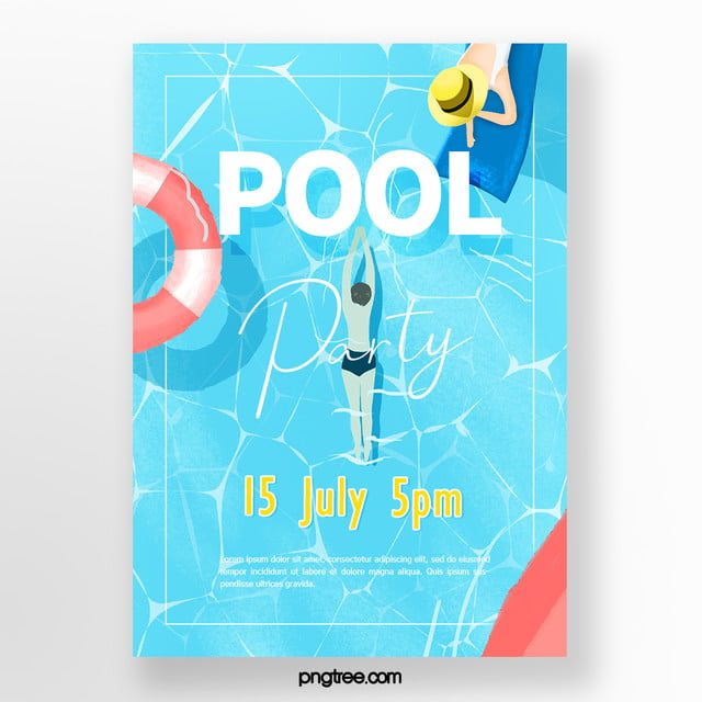 Summer Powdered Hand Painted Swimming Pool Party Posters ...