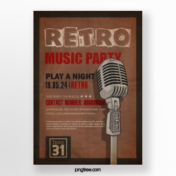 Brown retro microphone music party posters, Vintage, Square Box, Brown PNG and PSD