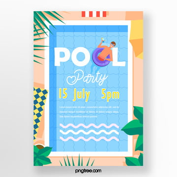 Cartoon Summer Palm Pool Party Poster, Leaf, Sun Umbrella, Palm PNG and PSD