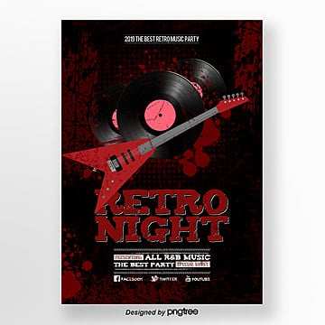 Fashion MODERN RETRO effect music party posters Template