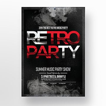 fashion retro simple music party theme poster Template