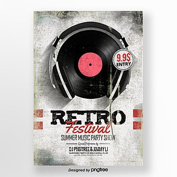 Fashion retro style music party theme Poster Template