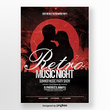 fashion silhouette retro music night party theme poster Template