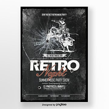 fashion trend retro music night publicity poster Template