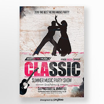 music and dance retro style theme poster Template