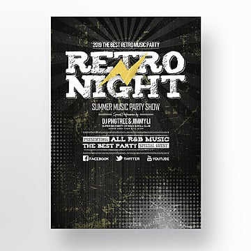 Poster for Theme Party of retro music night, Theme, Vintage, Night PNG and PSD