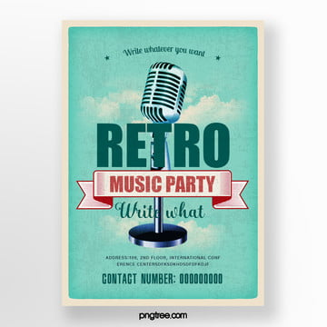 Rejuvenation and Fresh Blue Music Party Poster, Cloud, Vintage, Stars PNG and PSD