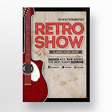 retro fashion simple music party theme poster Template