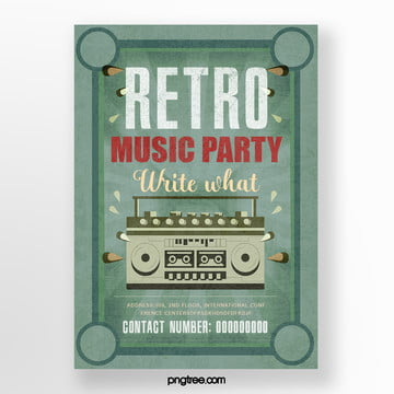 Retro Green Radio Music Party Poster, Circular, Vintage, Radio PNG and PSD