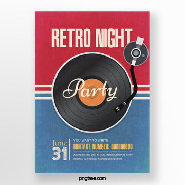 Retro Minimalist Record Music Party Poster, Record, Vintage, Stripe PNG and PSD