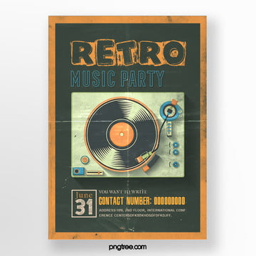 Retro Orange Recorder Music Party Poster, Record, Vintage, Square Box PNG and PSD