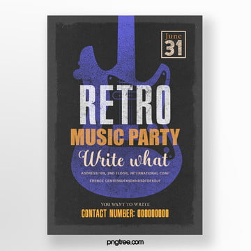 Retro Purple Guitar Music Party Poster, Guitar, Vintage, Square Box PNG and PSD
