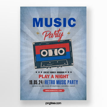 Retro Red and Blue Tape Music Party Poster, Vintage, Radiation, Stars PNG and PSD