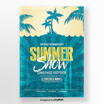 Retro style summer party theme posters, Theme, Imitation Of Old, Silhouette PNG and PSD