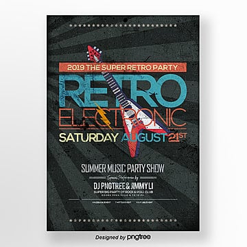 rock and roll electronic music party retro style theme poster Template