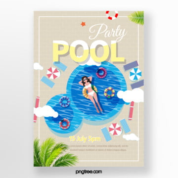 Summer Bikini Pool Party Poster, Cloud, Umbrella, Woman PNG and PSD