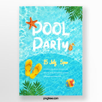 Summer Blue Fresh Pool Party Poster, Flip Flops, Palm, Starfish PNG and PSD