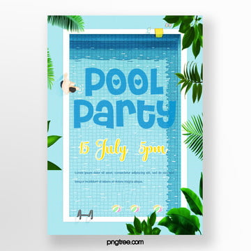 Summer Blue Palm Pool Party Poster, Palm, Swimming Pool, Heart Love PNG and PSD