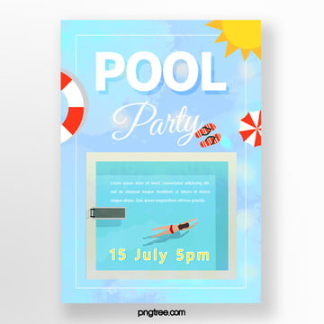 Summer Blue Powder Pool Party Poster, Flip Flops, Sunlight, Woman PNG and PSD