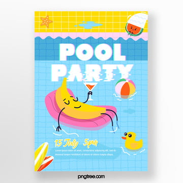 Summer Cartoon Fruit Blue Pool Party Poster, Swimming Pool, Ball, Blue PNG and PSD