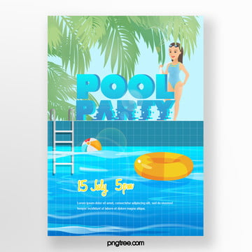 Summer Cartoon GirlsPool Party Poster, Woman, Palm, Swimming Pool PNG and PSD