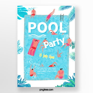 Summer cartoon powdered pool party posters, People, Leaf, Hand Painted PNG and PSD