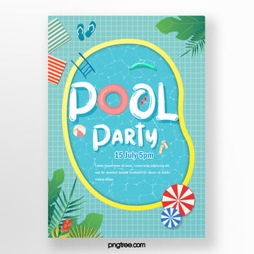 Summer lovely irregular pool party posters, Irregularity, Flip Flops, Umbrella PNG and PSD