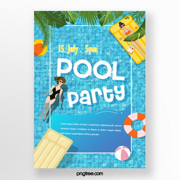 summer palm blue pool party poster Template
