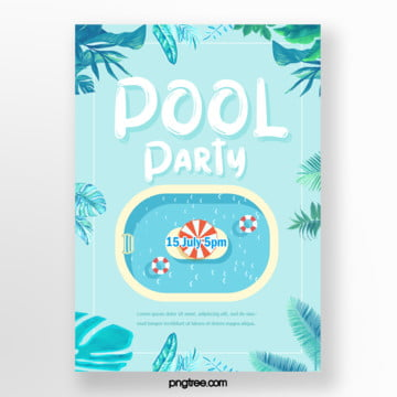 Summer Palm Lovely Cartoon Pool Party Poster, Umbrella, Lovely, Leaf PNG and PSD