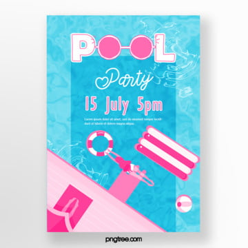 summer pink pool party poster Template