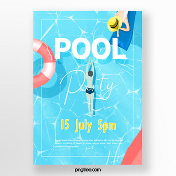 Summer powdered hand-painted swimming pool party posters, Woman, Life Buoy, Watercolor PNG and PSD