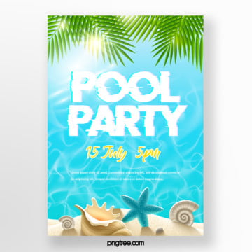 Summer Simple Palm Blue Pool Party Poster, Palm, Sandy Beach, Swimming Pool PNG and PSD
