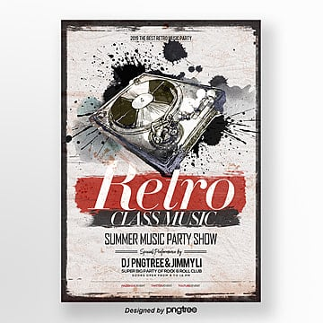 Theme poster of Chinese ink retro style music party, Dj, Theme, Vintage PNG and PSD