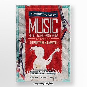 X ray Fashion Simple Retro Effect Music Party Theme Poster Template