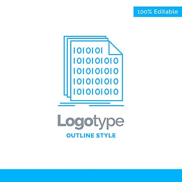 blue logo design for binary code coding data document  busin Template