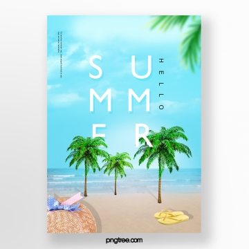 Bright Summer Blue Ocean Creative Poster Template