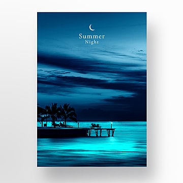 blue simple summer night poster Template