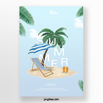 fresh blue summer creative poster Template