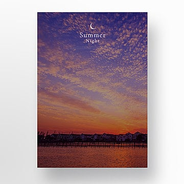 simple blue purple summer night poster Template