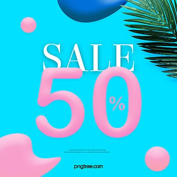 simple three dimensional summer color promotional posters Template