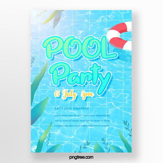 Summer Hand Painted Fresh Blue Swimming Pool Party Posters ...