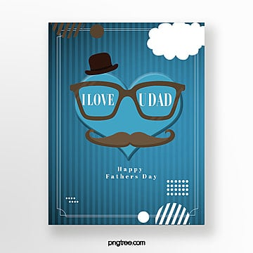 Blue Cute Fathers Day Card, Card, Celebrating, Poster PNG and PSD