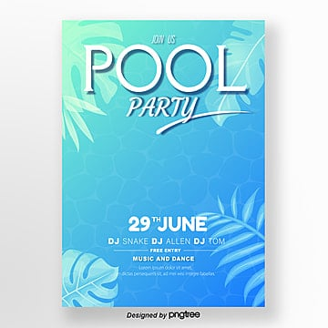 Blue Gradient Pool Fresh Poster, Summer, Leaf, Surface Of The Water PNG and Vector