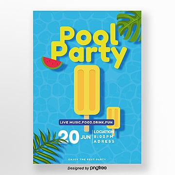 blue pool ice cream swimming circle party poster Template